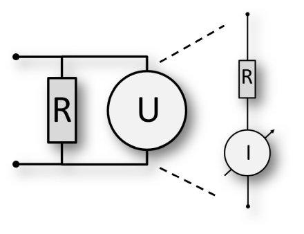 Messprinzip Spannung messen mit analogem Multimeter.
