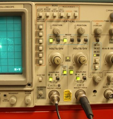 Measuring voltage with an oscilloscope.