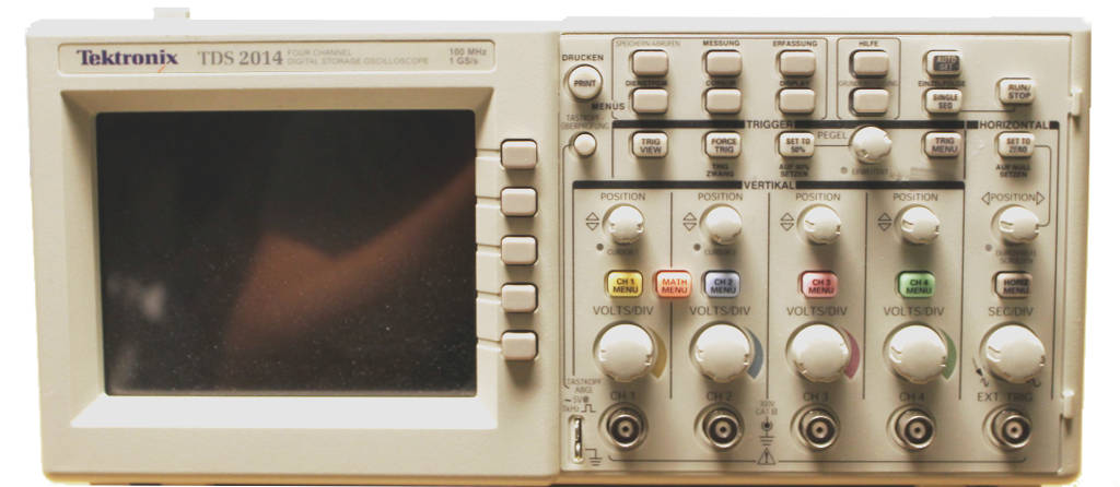 Image of a 4 channel digital oscilloscope